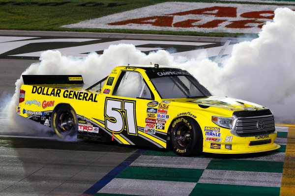 26 June, 2014, Sparta, Kentucky USA Kyle Busch celebrates his win with a burnout ? 2014, Russell LaBounty LAT Photo USA
