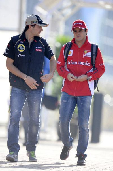 (L to R): Jerome d'Ambrosio (BEL) Lotus F1 and Felipe Massa (BRA) Ferrari.Formula One World Championship, Rd16, Korean Grand Prix, Practice, Korea International Circuit, Yeongam, South Korea, Friday 12 October 2012.