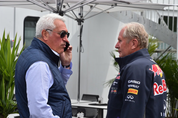 Lawrence Stroll (CDN) Mont Tremblant Race Circuit Owner and Dr Helmut Marko (AUT) Red Bull Motorsport Consultant at Formula One World Championship, Rd7, Canadian Grand Prix, Race, Montreal, Canada, Sunday 7 June 2015.