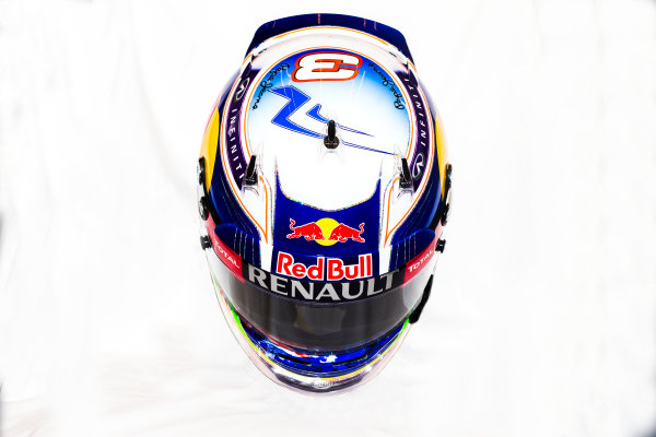 Circuito de Jerez, Jerez, Spain. Tuesday 3 February 2015. Helmet of Daniel Ricciardo, Red Bull Racing.  World Copyright: Red Bull Racing (Copyright Free FOR EDITORIAL USE ONLY) ref: Digital Image 2015_RED_BULL_HELMET_02