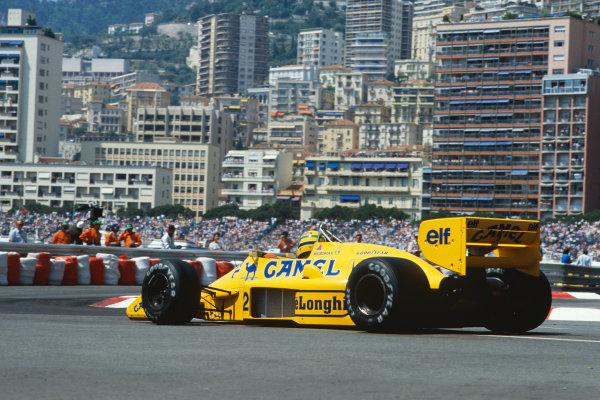 1987 Monaco Grand Prix. Monte Carlo, Monaco. 28th - 31st May 1987.  Ayrton Senna (Lotus 99T Honda),1st position, action. World Copyright: LAT Photographic. Ref: 87MONf