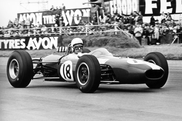 1965 British Grand Prix.Silverstone, Great Britain. 10 July 1965.Bob Anderson, Brabham BT11-Climax, retired, action.World Copyright: LAT Photographic