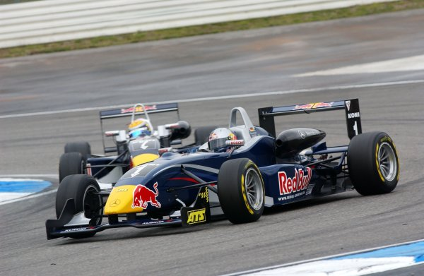 2006 F3 Euro Series.Round 19 & 20, Hockenheimring. 27th - 29th October 2006.Sebastian Vettel (GER), ASM Formula 3, Dallara F305 Mercedes in front of Sébastien Buemi (SUI), ASL Mücke Motorsport, Dallara F305 / MercedesWorld Copyright: Pieters/xpb cc/LATref: Digital Image Only