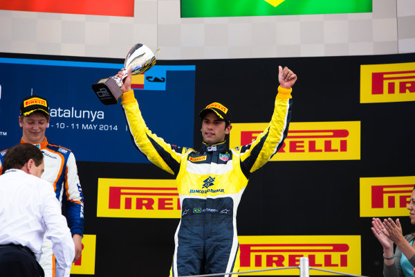 2014 GP2 Series Round 2 - Race 1. Circuit de Catalunya, Barcelona, Spain. Saturday 10 May 2014. Felipe Nasr (BRA, Carlin)  Photo: Malcolm Griffiths/GP2 Series Media Service. ref: Digital Image A50A3172