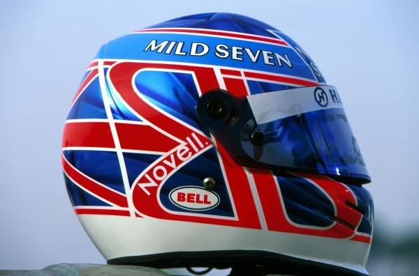 Jenson Button (GBR) Renault. 2002 Helmet.Formula One Testing, Barcelona, Spain. 27-31 January 2002.BEST IMAGE