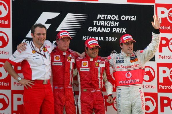 (L to R): Stefano Domenicali (ITA) Ferrari Manager of F1 Operations, Kimi Raikkonen (FIN) Ferrari, Felipe Massa (BRA) Ferrari and Fernando Alonso (ESP) McLaren on the podium. Formula One World Championship, Rd 12, Turkish Grand Prix, Race, Istanbul Park, Turkey, Sunday 26 August 2007.  BEST IMAGE