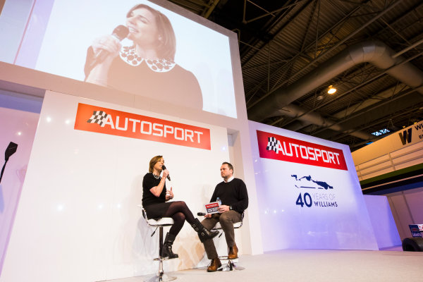 Autosport International Exhibition. National Exhibition Centre, Birmingham, UK. Sunday 15 January 2017. Claire Williams (Williams Martini Racing Deputy Principle), is interviewed on the Autosport Stage Photo: Sam Bloxham/LAT Photographic ref: Digital Image _SLB5207