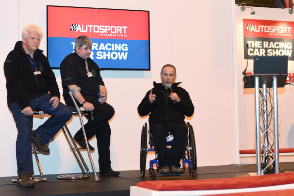 Autosport International Exhibition. National Exhibition Centre, Birmingham, UK. Sunday 15 January 2017. A man in a wheelchair addresses an audience at the Autosport International show. World Copyright: Sam Bagnall/LAT Images Ref: DSC_5732