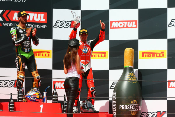 2017 Superbike World Championship - Round 5 Imola, Italy. Sunday 14 May 2017 Podium SSP: race winner Kenan Sofuoglu, Kawasaki Puccetti Racing, third place P.J. Jacobsen, MV Agusta World Copyright: Gold and Goose Photography/LAT Images ref: Digital Image 18857