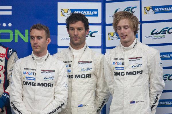 Timo Bernhard (GER) / Mark Webber (AUS) / Brendon Hartley (NZL) Porsche on the podium. World Endurance Championship, Rd1, Silverstone, England, 18-20 April 2014.