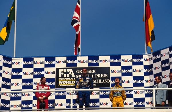 L to R; Ayrton Senna, Nigel Mansell and Michael Schumacher on the podium.