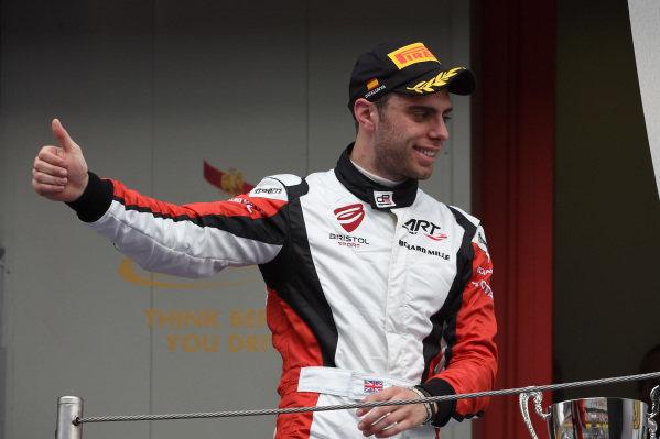 Third placed Dino Zamparelli (GBR) ART Grand Prix celebrates on the podium. GP3 Series, Rd1, Barcelona, Spain, 9-11 May 2014.