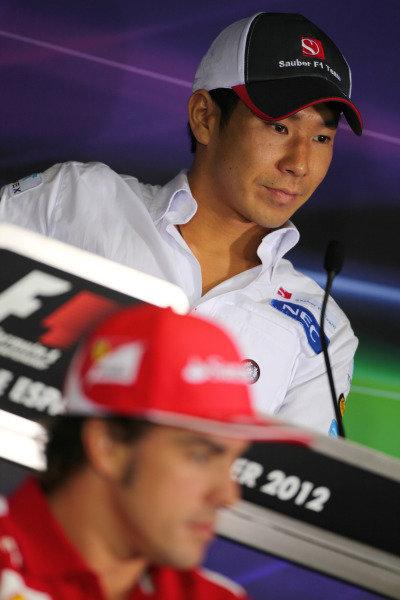 Circuit de Catalunya, Barcelona, Spain11th May 2012Kamui Kobayashi, Sauber F1, in the Friday Press Conference. World Copyright:Andy Hone/LAT Photographicref: Digital Image  IMG_7058