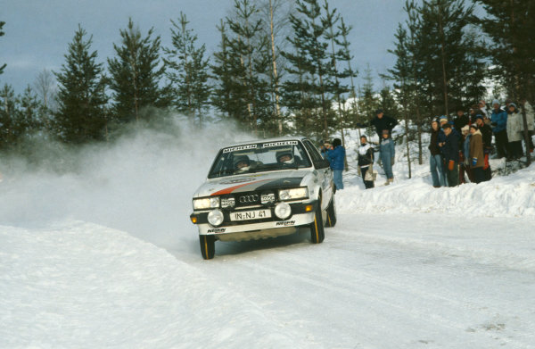 Swedish Rally, Sweden. 11-13 February 1983. Stig Blomqvist/Bjorn Cederberg (Audi 80 Quattro), 2nd position.