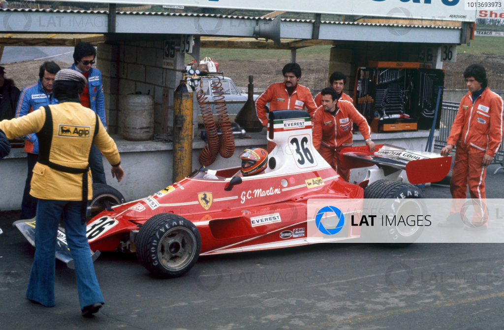 Brands Hatch, England. 14th March 1976.Giancarlo Martini (Ferrari 312T), retired, pit lane action. World Copyright: LAT Photographic.Ref:  76ROC 36c.