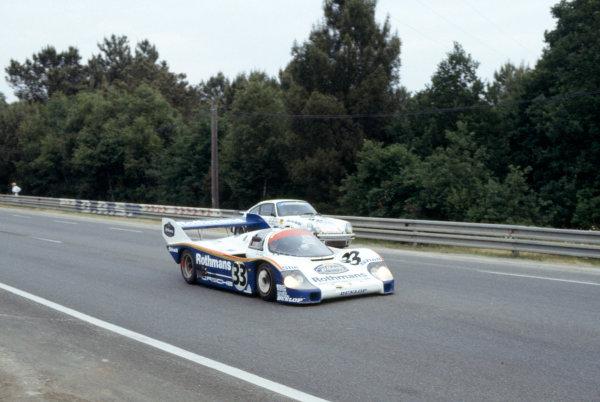 1983 Le Mans 24 hours.Le Mans, France. 18-19 June 1983.Jacky Ickx/Derek Bell (Porsche 956) passes Georg Memminger/Fritz Muller/Heinz Kuhn Weiss (Porsche 930) in practice.World Copyright: LAT Photographic. Ref: 83LM15.
