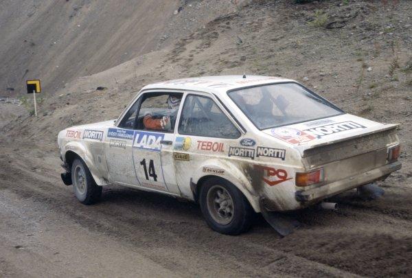 1977 World Rally Championship.1000 Lakes Rally, Finland. 26-28 August 1977.Kyosti Hamalainen/Martti Tiukkanen (Ford Escort RS1800), 1st position.World Copyright: LAT PhotographicRef: 35mm transparency 77RALLY06