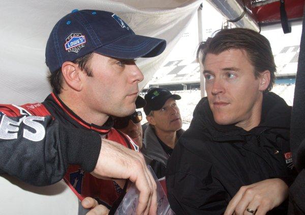 28-31 January, 2010, Daytona Beach, Florida, USA Jimmie Johnson talks with co-driver Alex Gurney during practice. ©2010, R.D. Ethan, USA LAT Photographic
