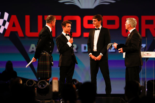 2017 Autosport Awards Grosvenor House Hotel, Park Lane, London. Sunday 3 December 2017. Derek Warwick receives an award from Lando Norris and George Russell. World Copyright: Joe Portlock/LAT Images Ref: Digital Image _o3i6805