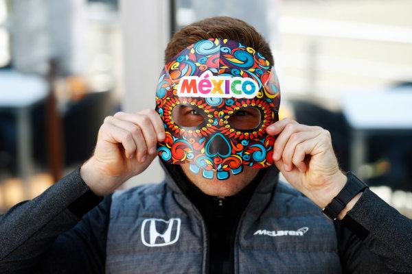 Autodromo Hermanos Rodriguez, Mexico City, Mexico. Thursday 26 October 2017. Stoffel Vandoorne, McLaren, wears a Mexian mask. World Copyright: Steven Tee/LAT Images  ref: Digital Image _R3I3112