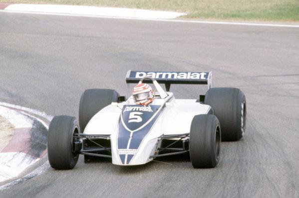 Imola, Italy. 12-14 September 1980. Nelson Piquet, Brabham BT49-Ford Cosworth, 1st position. World Copyright: LAT Photographic. Ref: 80ITA01