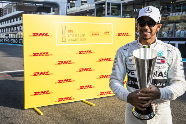Lewis Hamilton, Mercedes AMG F1, celebrates with the DHL Fastest Lap trophy