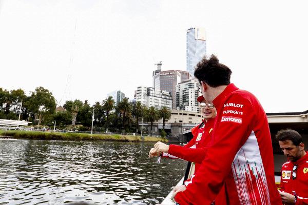 Charles Leclerc, Ferrari and Mattia Binotto, Team Principal Ferrari on the way to the Federation Square event.