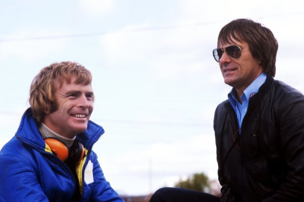 (L to R): Max Mosley (GBR) March Team Manager with Bernie Ecclestone (GBR) Brabham Team Owner. Canadian Grand Prix, Rd 16, Mosport Park, Canada, 9 October 1977. BEST IMAGE