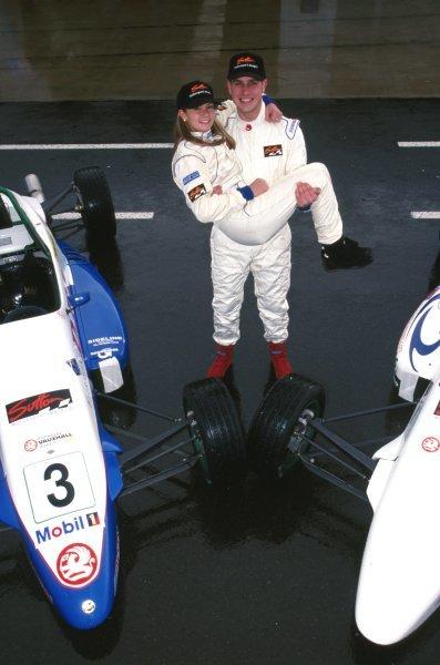 (L-R) Danica Patrick (USA) Marino Franchitti (GBR) General Testing, Silverstone, England,  6 November 1998