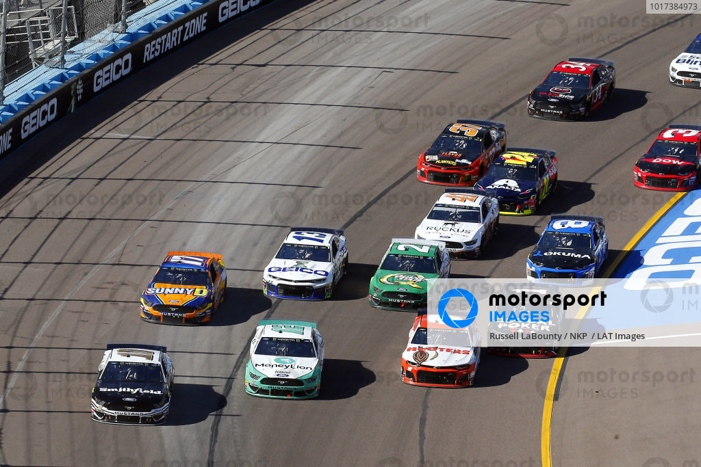 #10: Aric Almirola, Stewart-Haas Racing, Ford Mustang Smithfield, #12: Ryan Blaney, Team Penske, Ford Mustang MoneyLion and #9: Chase Elliott, Hendrick Motorsports, Chevrolet Camaro Hooters