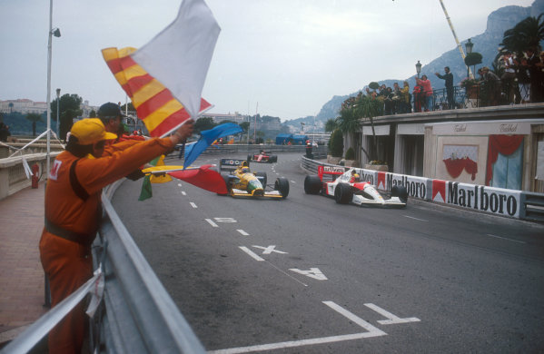 1991 Monaco Grand Prix.Monte Carlo, Monaco.26-28 April 1991.Ayrton Senna (McLaren MP4/6 Honda) celebrates his 1st position as he rounds Massenet.Ref-91 MON 29.World Copyright - LAT Photographic