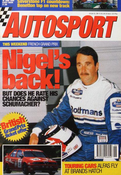 Cover of Autosport magazine, 30th June 1994