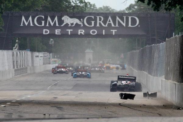 2 June, 2013, Detroit, Michigan, USA AJ Allmendinger hits a wall on first lap of the race.  Crash ©2013, Todd Davis LAT Photo USA