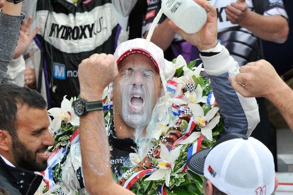 26 May, 2013, Indianapolis, Indiana, USA Winner Tony Kanaan drinks milk in Victory lane © 2013, Scott LePage LAT Photo USA