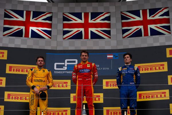 2016 GP2 Series Round 4 Red Bull Ring, Spielberg, Austria. Sunday 3 July 2016. Jordan King (GBR, Racing Engineering), Oliver Rowland (GBR, MP Motorsport) & Alex Lynn, (GBR, DAMS)  Photo: Sam Bloxham/GP2 Series Media Service. ref: Digital Image _SLA9913