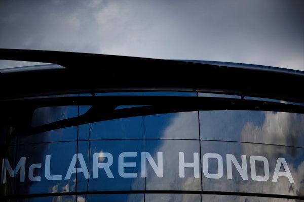 Red Bull Ring, Spielberg, Austria. Friday 19 June 2015. McLaren Honda logo on the Brand Centre. World Copyright: Alastair Staley/LAT Photographic. ref: Digital Image _R6T0787