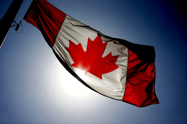 Circuit Gilles Villeneuve, Montreal, Canada. Wednesday 3 June 2015. A Canadian flag flies. World Copyright: Glenn Dunbar/LAT Photographic. ref: Digital Image DSC00460