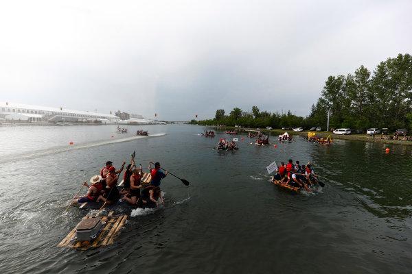 Circuit Gilles Villeneuve, Montreal, Canada. Saturday 10 June 2017. A raft begins to founder at the raft race. World Copyright: Glenn Dunbar/LAT Images ref: Digital Image _X4I7211