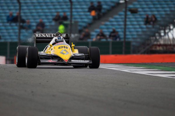 Silverstone, Northamptonshire, UK.  Saturday 15 July 2017. A 1983 Alain Prost raced Renault RE40 is driven in a parade celebrating 40 years since the Renault team first entered a Formula 1 Grand Prix. World Copyright: Dom Romney/LAT Images  ref: Digital Image GT2R3215