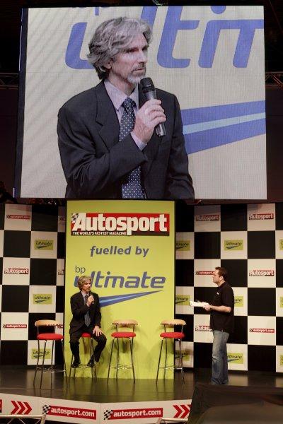 2007 Autosport International ShowNEC, Birmingham. 11th - 14th January 2007.Damon Hill on the Autosport Central Stage. Portrait.World Copyright: Malcolm Griffiths/LAT Photographicref: Digital Image _MG_5284