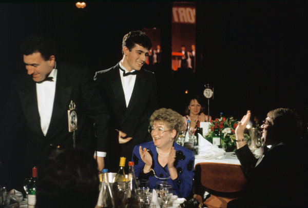1992 Autosport Awards. Grosvenor House Hotel, Park Lane, London. 6th December 1992. Dario Franchitti wins the Autosport Young Driver of the Year award and is congratulated by his Father, George, portrait.  World Copyright: LAT Photographic. Ref:  Colour Transparency.