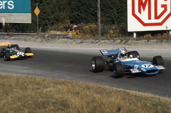 1969 Canadian Grand Prix.  Mosport, Canada. 18-20th September 1969.  Jackie Stewart, Matra MS80 Ford, leads Jacky Ickx, Brabham BT26A Ford, 1st position.  Ref: 69CAN11. World Copyright: LAT Photographic