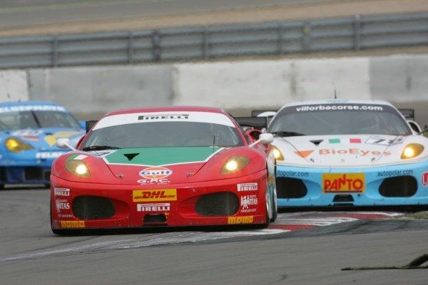Matteo Bobbi (ITA) / Alessandro Bonetti (ITA) / Fabrizio de Simone (ITA) GPC Sport Ferrari 430 GTC. Le Mans Series, Rd3, Nurburgring, Germany, 1 July 2007.