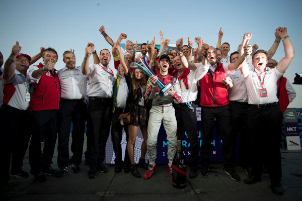 2017/2018 FIA Formula E Championship. Round 2 - Hong Kong, China. Sunday 03 December 2017. Daniel Abt (GER), Audi Sport ABT Schaeffler, Audi e-tron FE04, celebrates after winning the race. Photo: Alastair Staley/LAT/Formula E ref: Digital Image _MGL9871