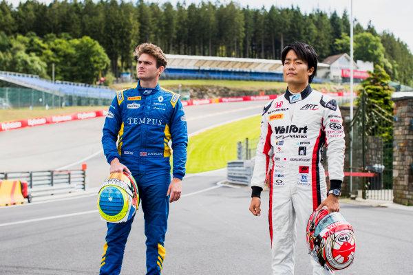 2017 FIA Formula 2 Round 8. Spa-Francorchamps, Spa, Belgium. Thursday 24 August 2017. Oliver Rowland (GBR, DAMS) and Nobuharu Matsushita (JPN, ART Grand Prix).  Photo: Zak Mauger/FIA Formula 2. ref: Digital Image _56I0257