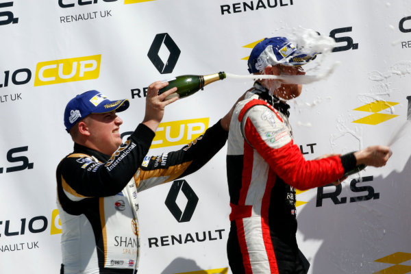 Renault Clio Cup Rockingham, 26th-27th August 2017, Jack McCarthy (GBR) Team Pyro Renault Clio Cup, Max Coates (GBR) Ciceley Motorsport Renault Clio Cup World copyright.. JEP/LAT Images
