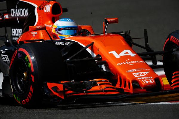 Spa Francorchamps, Belgium.  Saturday 26 August 2017. Fernando Alonso, McLaren MCL32 Honda.  World Copyright: Andy Hone/LAT Images  ref: Digital Image _ONZ9891