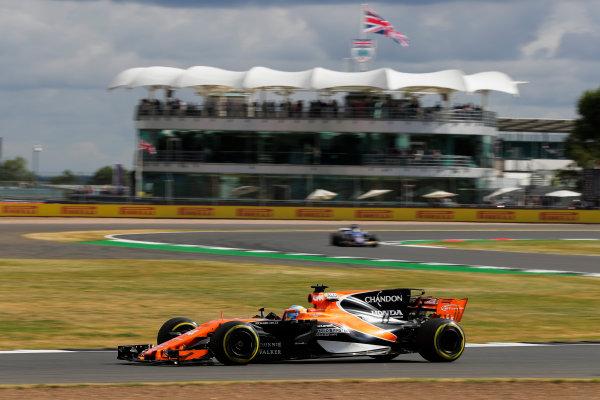 Silverstone, Northamptonshire, UK.  Friday 14 July 2017. Fernando Alonso, McLaren MCL32 Honda. World Copyright: Zak Mauger/LAT Images  ref: Digital Image _54I4461