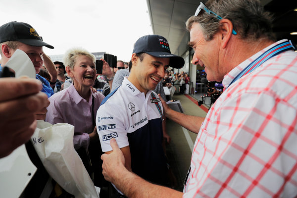 Williams 40 Event Silverstone, Northants, UK Friday 2 June 2017. Felipe Massa greets Nigel Mansell. World Copyright: Zak Mauger/LAT Images ref: Digital Image _56I9978