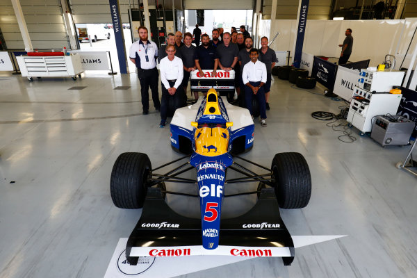 Williams 40 Event Silverstone, Northants, UK Friday 2 June 2017. A group photo next to the Williams FW14B Renault.  World Copyright: Sam Bloxham/LAT Images ref: Digital Image _W6I6792